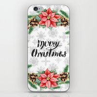 merry christmas iPhone & iPod Skins featuring Merry Christmas by Julia Badeeva