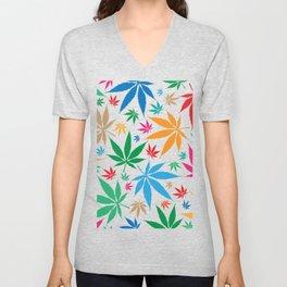 marijuana leaf color pattern Unisex V-Neck