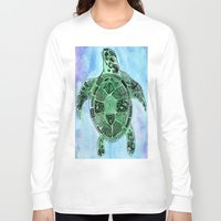 tatoo Long Sleeve T-shirts featuring Tatoo Sea Turtle by PepperDsArt