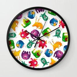 Colorful Cute Monsters Fun Cartoon Wall Clock