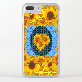 DECORATIVE  BABY BLUE ART & YELLOW SUNFLOWERS Clear iPhone Case