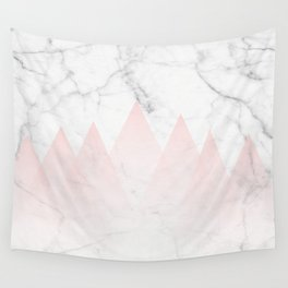 White Marble Background Pink Abstract Triangle Mountains Wall Tapestry