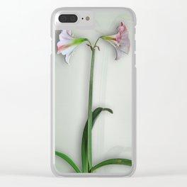 Shadowed Amaryllis Clear iPhone Case