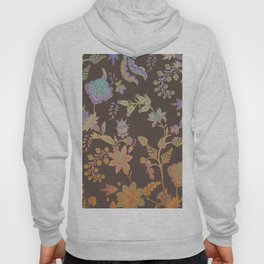 Chateau Brown Chinoiserie Decorative Floral Motif Chintz Hoody