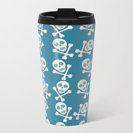 Blue seamless background. Skull and bones. Pirates. Metal Travel Mug