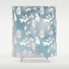 Bunnies Bunny in heaven-Cute Animal illustration pattern Shower Curtain