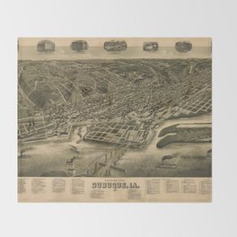 Perspective Map of Debuque, Iowa (1889) Throw Blanket