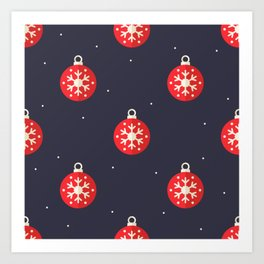 Red Christmas Ornament Pattern Art Print