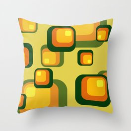 Vintage Rectangles green yellow pattern Design Throw Pillow