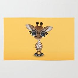 Cute Curious Baby Giraffe Wearing Glasses Rug