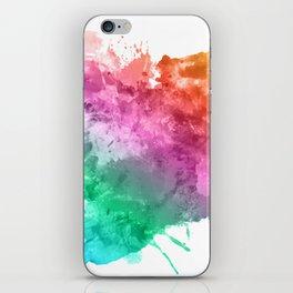 Watercolour splatter in rainbow colours iPhone Skin