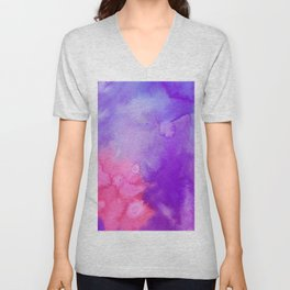Pink blue violet abstract hand painted watercolor pattern Unisex V-Neck