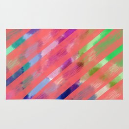 Ribbon Party - Pink and Rainbow Stripe Palette Rug
