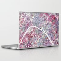 paris map Laptop & iPad Skins featuring Paris Map by MapMapMaps.Watercolors