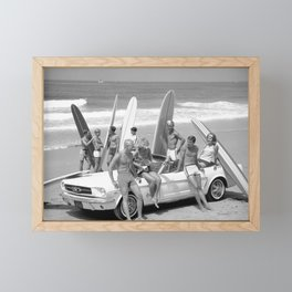 Vintage Beach Party Mustang Framed Mini Art Print