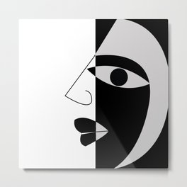 Black and white face Metal Print