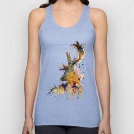 Deer Head Watercolor Silhouette Unisex Tank Top