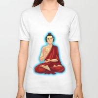 buddah V-neck T-shirts featuring Adeptu Buddah by Conversa entre Adeptus