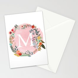 Flower Wreath with Personalized Monogram Initial Letter M on Pink Watercolor Paper Texture Artwork Stationery Cards