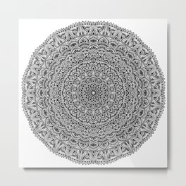 Zen Black and white Mandala Metal Print