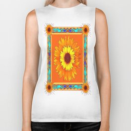 Southwestern Sun Flowers Abstract Design Biker Tank