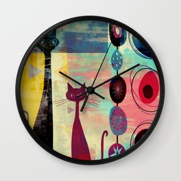 MidMod 2 Cats Graffiti Wall Clock