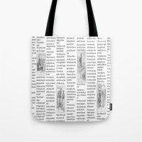 pride and prejudice Tote Bags featuring Pride and Prejudice by Rachel Bradford