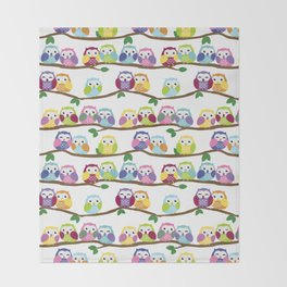 Colorful Owls On Branches Throw Blanket