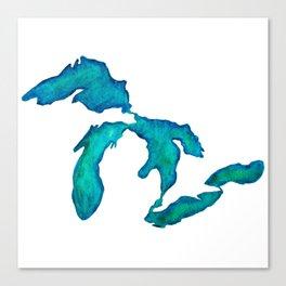 watercolor Great Lakes Canvas Print