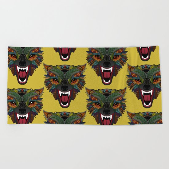 wolf fight flight ochre Beach Towel