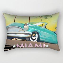 Miami, Florida, USA retro travel poster Rectangular Pillow