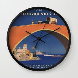 Vintage poster - Mediterranean Cruises Wall Clock