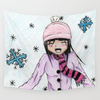 manga Wall Tapestries featuring MANGA GIRL SNOW by LUCI-ART