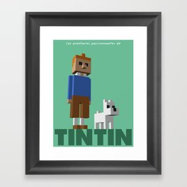 Tintin voxel tribute Framed Art Print
