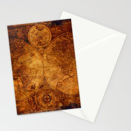 Peace on Earth Antique Map Art Stationery Cards