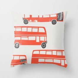 London Double Decker Red Bus Throw Pillow