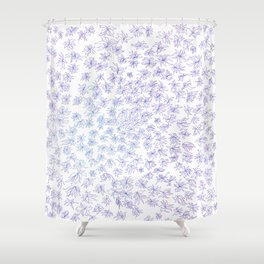 floral, blue on white Shower Curtain