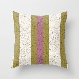 Streamline Terrazzo - creamy white with avocado green and deep pink stripes Throw Pillow