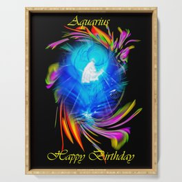 Zodiac sign Aquarius  Happy Birthday Serving Tray