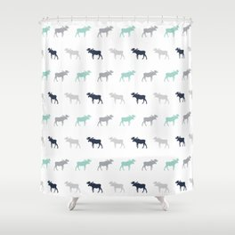 Moose pattern minimal nursery basic grey and white camping cabin chalet decor Shower Curtain