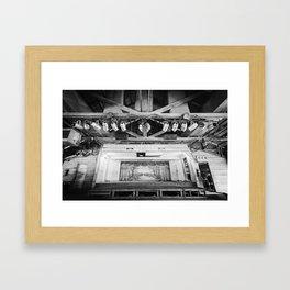 Gruene Hall stage (interior) - Oldest Dance Hall in Texas (B&W) Framed Art Print