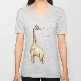 Young Giraffe with Butterflies Unisex V-Neck