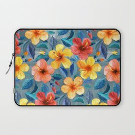 Colorful Watercolor Hibiscus on Grey Blue Laptop Sleeve