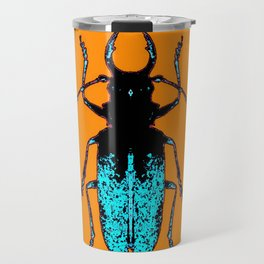 Black Turquoise Stag horn Beetle Western Art Abstract Travel Mug