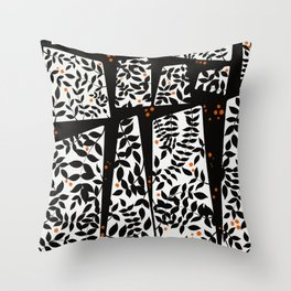 Black leaves on abstract background Throw Pillow