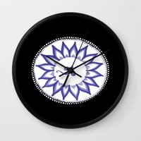 ohm Wall Clocks featuring Ohm Flower by Michelle_