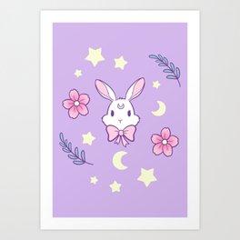 Sakura Bunny // Purple Art Print