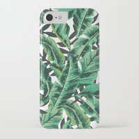 tropical iPhone & iPod Cases featuring Tropical Glam Banana Leaf Print by Nikki