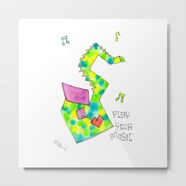 Play Your Music Watercolor Painting Colorful Saxophone by Lenna Arty Metal Print
