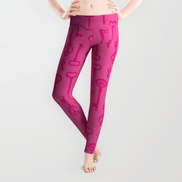 Pink Secret Keys Pattern Leggings